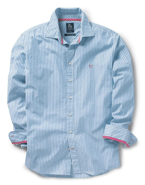 classic blue and white striped shirt by crew clothing
